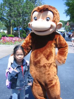 Photo of Curious George mascot at Universal Studios