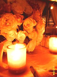 Flowers and candles.